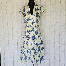 Cream RUBY BELLE Palm Trees Classic Summer Print Dress Size US 12 Large