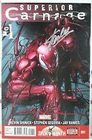 💥 STAN LEE SIGNED! SUPERIOR CARNAGE #1 + CLAYTON CRAIN marvel spider-man venom