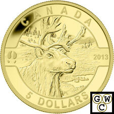2013 Gold 'Caribou - O Canada' Proof $5 Gold Coin .9999 Fine (13154)