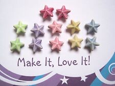 12 x OPAQUE PASTEL STAR BEADS 10MM ACRYLIC MIXED COLOURS ASSORTED STARFISH