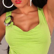 SeXy Miss Damen Wasserfall Girly Trend Top Silber Schnalle hell grün XS/S NEU