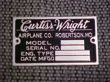 Curtiss Wright Aircraft data plate 1920 1930s acid etched aluminum