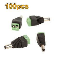 100X PCS. DC MALE POWER JACK CONNECTOR PLUG ADAPTER FOR CCTV SECURITY CAMERA