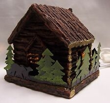 Log Cabin In The Woods with Bear Table Night Light
