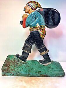 """Antique Original Cast Iron """"Pirate With Pack"""" Doorstop"""
