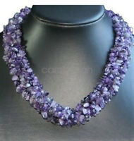 Natural Purple Amethyst Chips Thick Necklace Women Elegant Chain Necklstar Hot