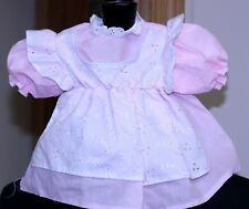 1970s med-large Doll pink dotted swiss elastic waist front eyelet pinafore clean