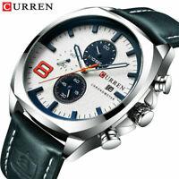 CURREN 8324 Herren Sport Leder Casual Uhren Quarz Datum Armbanduhr Chronogr R9M4