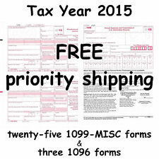 25) 1099-MISC Miscellaneous Income 2015 IRS Tax Forms & 3 1096 Transmittal Forms