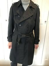 Burberry Mens Westminster Trench Coat Medium/Large 50R Black  -  100% Cotton