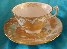 Royal Crown Derby Gold Aves Pattern English Bone China Footed Tea Cup & Saucer