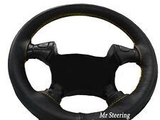 Se adapta a 95-02 Vauxhall Vectra B Negro Cuero cubierta del volante el pespunte amarillo de