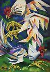 Moran Cubist Gallos Pelea Cock Fight Cuban Latin Artist cuba Arte Cubana Art