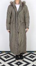 Padded Coat Raincoat Hooded UK 12 Medium Mac Green Fur Trim  (J3O)