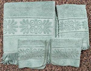4 pc Cannon Monticello Bath Towel Washcloth Set Teal Blue Green