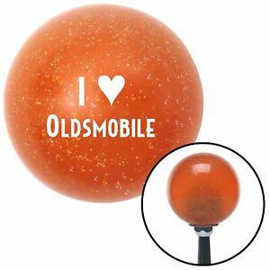 White I <3 OLDSMOBILE Orange Metal Flake Shift Knob with 16mm x 1.5 Insert