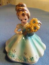 Vintage Josef Originals - March Aquamarine Birthday Girl Figurine w/Birthstones