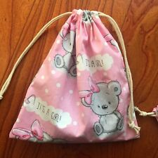 1pc Cotton Drawstring Pouch Multi-purpose Bag It's A Girl Pink Base Cartoon Bear
