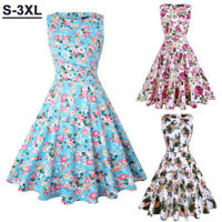 50s Womens Sleeveless Rockabilly Pinup Housewife Party Vintage Swing Tea Dresses