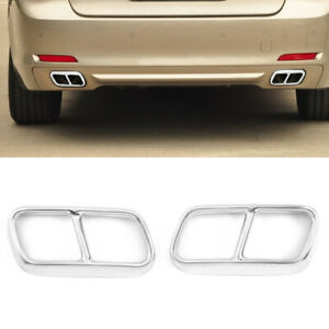 Dual Exhaust End Pipe Muffler Tip Cover fit for BMW 7 Series F01 09-14 Silver
