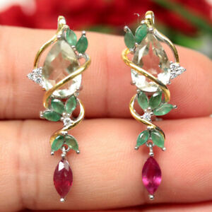 NATURAL LIGHT GREEN AMETHYST EMERALD RUBY & CZ TWO TONE EARRINGS 925 SILVER