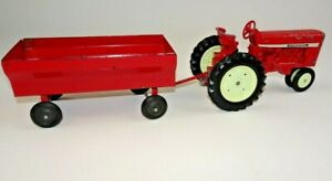 "Vintage Ertl Co Red International Tractor + Trailer Dyersville Iowa USA 8"" Steel"