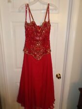 EUC!! SHOWTIME Prom Pageant Military Ball Cruise Dress S 10  RED JEWEL EMBELLISH