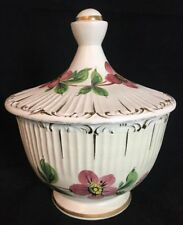 Vintage BHS Hand Painted Flower Lidded Round Candy Nut Dish Made Italy