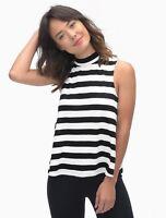 Women's Splendid Delcia Mock Neck Stripe Tank Black/White Size Small