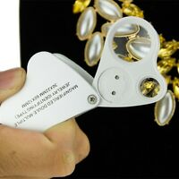60X 30X Magnifier Loop Magnifying Glass Jeweler Eye Loupe Lens LED Light 2in1