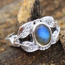 HANDMADE 925 Solid Sterling Silver Fine Jewelry Labradorite Gemstone Ring Size 9