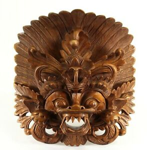 = SUPERB Antique Indonesian Carving of Barong Ket Head Mystical Lion from Bali