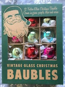 12 x Large vintage style glass Christmas Xmas baubles decorations NEW