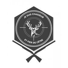 Autocollant chasseur et fier cerf logo1 sticker 17 cm