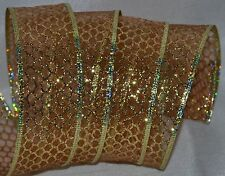 Wired Ribbon~Sheer~Christmas Gold Copper Sparkle Web Net~Wreath~Craft~Gift~Bow