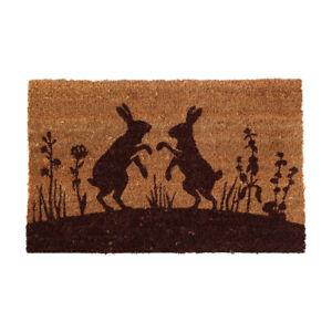 Large Coir Boxing Hares Doormat Door Mat Rubber Backed Porch Doorstep *