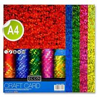 Premier Stationery Craft, Holographic Card. 220Gsm. Asst Colours.Pack of 10, A4