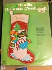 Buciilla Christmas Needlecraft Jeweled Christmas Stocking Mr. Frosty Kit SEALED