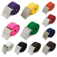 Men Boy Unisex Canvas Metal Buckle Plain Webbing Business Casual Belt Strap New