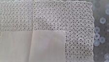 mouchoir pochette fin LINON de coton brode main jour@handkerchief