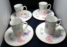 Fitz & Floyd Butterfly Borealis 1981 Set of 4 Salad/Lunch Plates & 4 Mugs - Mint