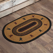 """Primitive Country Rustic """" HERITAGE FARMS STAR"""" Farm Jute Oval Throw Rug 20""""x30"""""""