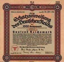 DEUTSCHES Reich Schatzanweisung 1940 Berlin Adler 1000 M Schultzenstein Quadrat