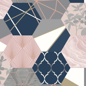 Navy Blue and Pink Hexagon Geometric Patchwork Wallpaper by Rasch 215908