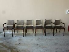 6 EDWARD WORMLEY FOR DUNBAR DINING ROOM CHAIRS, 4 ARMS, 2 SIDES CIRCA 1955