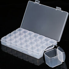28 Slots Empty Nail Art Storage Box Rhinestone Bead Gems Stuffs Container Case H