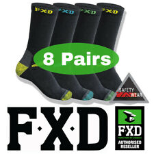 8 Pairs FXD Long Crew Work Socks Black/Multi Coloured SK2 Size 7-12 75% Cotton