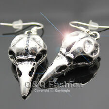 Antique Silver Victorian Bird Skull Crow Raven Dangle Earrings Goth Punk Emo H6