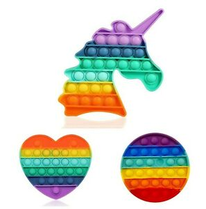 Push Pop Fidget Kids Toy It Bubble Special Needs Silent Sensory Autism - RAINBOW