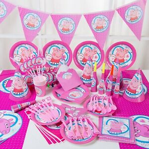 PEPPA PIG birthday decorations PARTY table cloth cups banner plates fork spoon